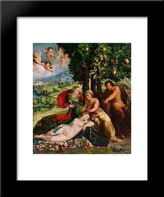 Mythological Scene: Modern Black Framed Art Print by Dosso Dossi