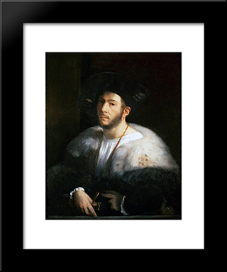 Portrait Of A Man (Probably Cesare Borgia): Modern Black Framed Art Print by Dosso Dossi