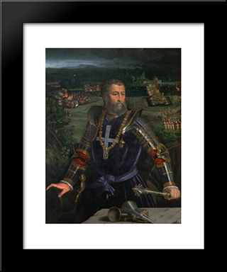 Portrait Of Alfonso I D'Este: Modern Black Framed Art Print by Dosso Dossi