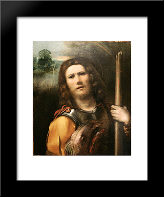 Saint George: Modern Black Framed Art Print by Dosso Dossi