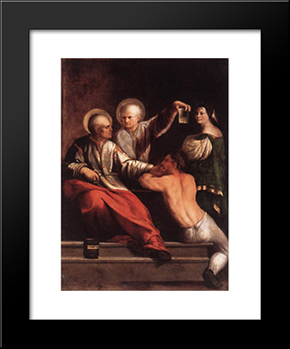 St Cosmas And St Damian: Modern Black Framed Art Print by Dosso Dossi