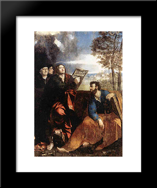 Sts John And Bartholomew With Donors: Modern Black Framed Art Print by Dosso Dossi