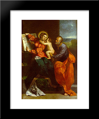 The Holy Family: Modern Black Framed Art Print by Dosso Dossi