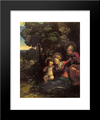 The Rest On The Flight Into Egypt: Modern Black Framed Art Print by Dosso Dossi