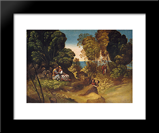 The Three Ages Of Man: Modern Black Framed Art Print by Dosso Dossi