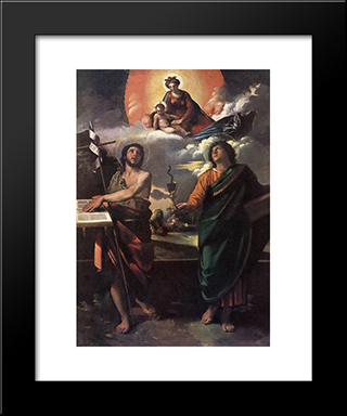 The Virgin Appearing To Saints John The Baptist And John The Evangelist: Modern Black Framed Art Print by Dosso Dossi