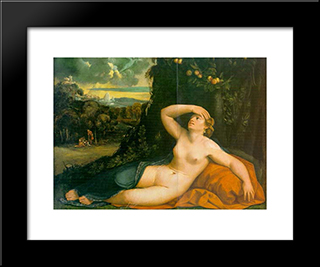 Venus Awakened By Cupid: Modern Black Framed Art Print by Dosso Dossi