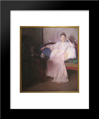 Arrangement In Pink And Gray (Afternoon Tea): Modern Black Framed Art Print by Edmund Charles Tarbell