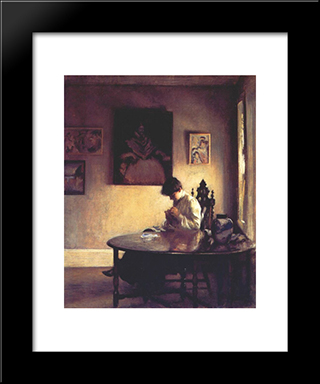 Girl Crotcheting: Modern Black Framed Art Print by Edmund Charles Tarbell