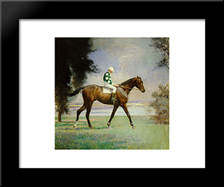 Thoroughbred With Jockey Up: Modern Black Framed Art Print by Edmund Charles Tarbell