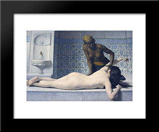 Le Massage Au Hamam: Modern Black Framed Art Print by Edouard Debat Ponsan
