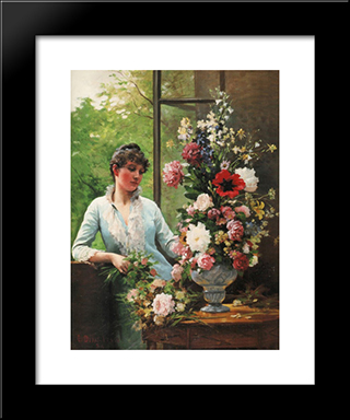 Preparing The Flower Arrangement: Modern Black Framed Art Print by Edouard Debat Ponsan
