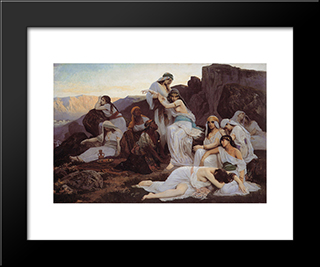 The Daughter Of Jephthah: Modern Black Framed Art Print by Edouard Debat Ponsan