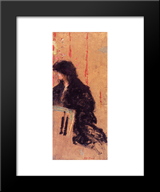 A Somber Dress: Modern Black Framed Art Print by Edouard Vuillard