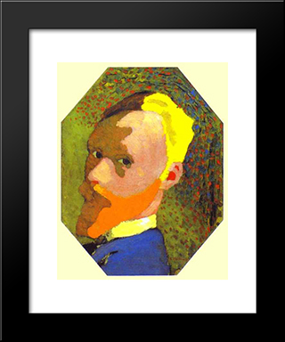 Autoportrait: Modern Black Framed Art Print by Edouard Vuillard