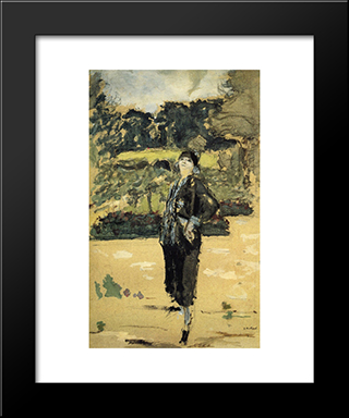 Black Dress: Modern Black Framed Art Print by Edouard Vuillard