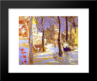 Boulevard Of Battignolles: Custom Black Wood Framed Art Print by Edouard Vuillard