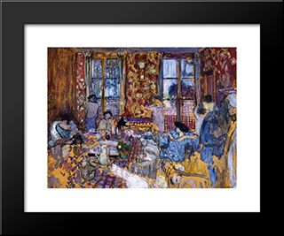 Breakfast At Villerville: Modern Black Framed Art Print by Edouard Vuillard