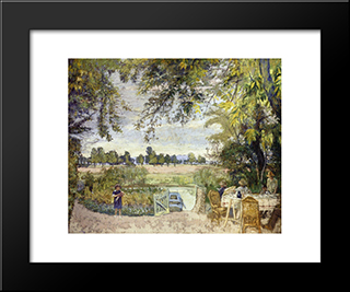 Figures Eating In A Garden By The Water: Modern Black Framed Art Print by Edouard Vuillard