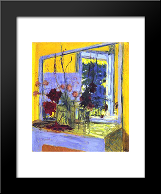 Flowers On A Fireplace In Clayes: Custom Black Wood Framed Art Print by Edouard Vuillard