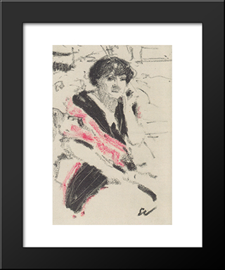 Half-Figure Of A Seated Woman: Custom Black Wood Framed Art Print by Edouard Vuillard