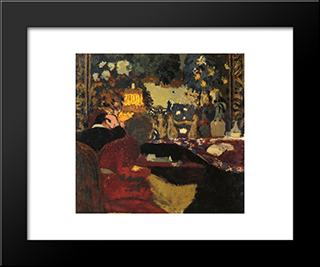 In Front Of A Tapestry: Modern Black Framed Art Print by Edouard Vuillard