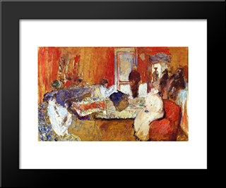 In The Red Room: Modern Black Framed Art Print by Edouard Vuillard
