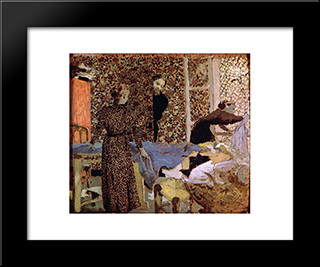 Interior Of The Work-Table: Custom Black Wood Framed Art Print by Edouard Vuillard