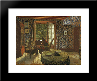 Interior: Modern Black Framed Art Print by Edouard Vuillard