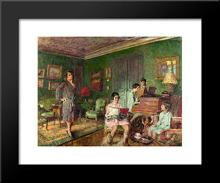 Madame Andre Wormser And Her Children: Modern Black Framed Art Print by Edouard Vuillard