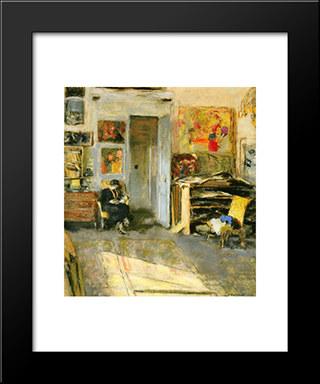 Madame Losse Hessel In Vuillard'S Studio: Modern Black Framed Art Print by Edouard Vuillard