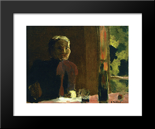 Madame Vuillard At Table: Modern Black Framed Art Print by Edouard Vuillard