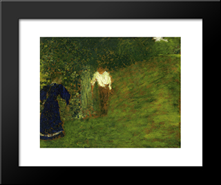 Man And Woman Beneath A Tree: Modern Black Framed Art Print by Edouard Vuillard