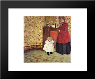 Mother And Child: Modern Black Framed Art Print by Edouard Vuillard