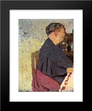My Mother: Modern Black Framed Art Print by Edouard Vuillard