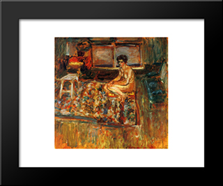 Nude On An Orange Rug: Modern Black Framed Art Print by Edouard Vuillard