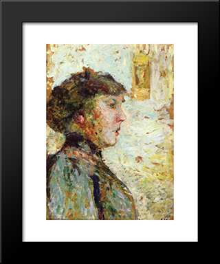 Portrait Of A Woman In Profile: Modern Black Framed Art Print by Edouard Vuillard