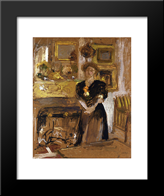 Portrait Of Madame Marie Des Jardins Fontaine: Modern Black Framed Art Print by Edouard Vuillard
