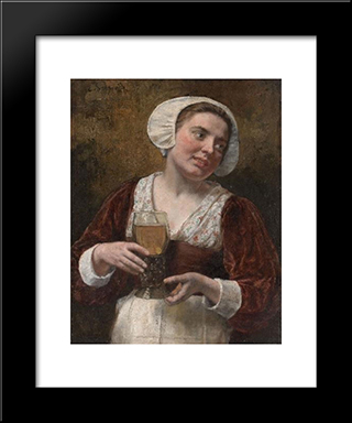 A Young Woman With A Wineglass: Modern Black Framed Art Print by Eduard von Gebhardt