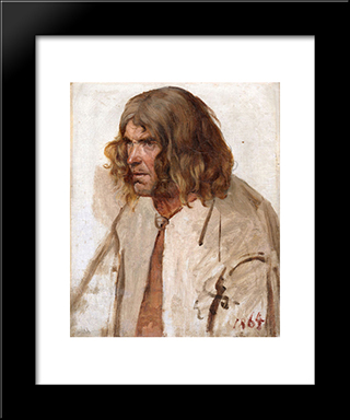 Estonian Peasant: Modern Black Framed Art Print by Eduard von Gebhardt