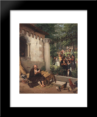 Lazarus And The Rich Man: Modern Black Framed Art Print by Eduard von Gebhardt