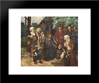Let The Little Children Come Unto Me: Modern Black Framed Art Print by Eduard von Gebhardt