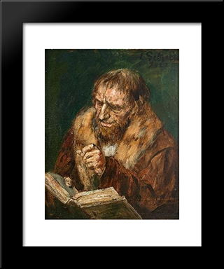 Man Reading: Modern Black Framed Art Print by Eduard von Gebhardt