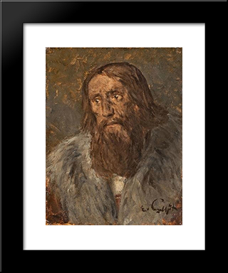 Portrait Of A Bearded Man (Head Of An Apostle): Modern Black Framed Art Print by Eduard von Gebhardt
