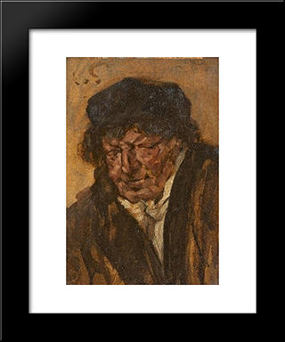 Portrait Of A Man With Beret: Modern Black Framed Art Print by Eduard von Gebhardt