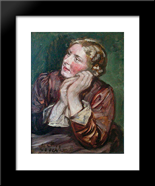 Portrait Of A Woman: Modern Black Framed Art Print by Eduard von Gebhardt