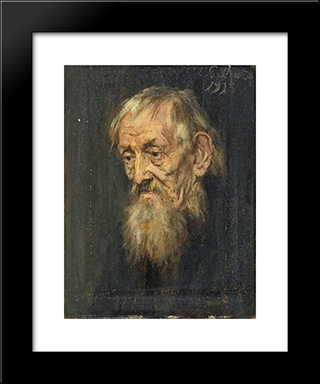 Portrait Of An Old Man: Modern Black Framed Art Print by Eduard von Gebhardt