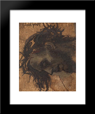 Study For The Head Of Christ In A Crucifixion: Modern Black Framed Art Print by Eduard von Gebhardt
