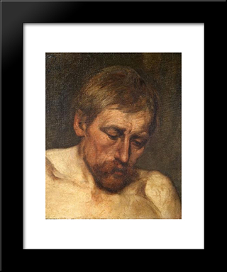 Study Of A Head: Modern Black Framed Art Print by Eduard von Gebhardt
