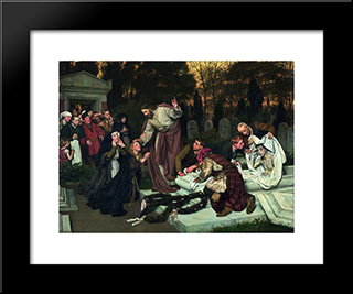 The Raising Of Lazarus: Modern Black Framed Art Print by Eduard von Gebhardt